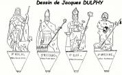 dessin des quatre statues de bois